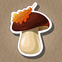 Sticker with cartoon colored mushroom