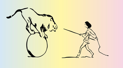 sketch of a woman trainer  wild animals, circus artist in the arena with  lion