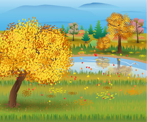 Autumn nature landscape with forest and lake.