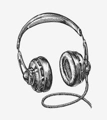 Hand-drawn vintage headphones. Sketch music. Vector illustration