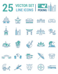 Set vector line icons in flat design with  Beijing elements
