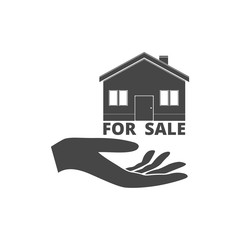 Illustration of a hand offering house for sale