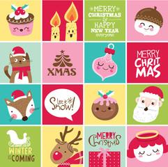 Set of Christmas card design