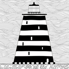 Cute cartoon striped lighthouse isolated on white background.