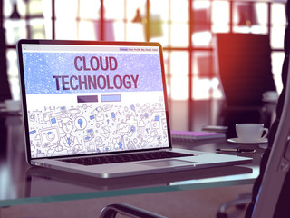 Cloud Technology in Workplace Background. 3D Illustration.