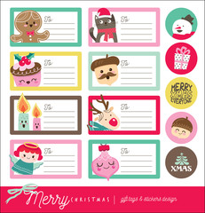 Set of Christmas gift tags/ stickers