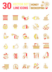 Vector set of icons on a theme of honey and beekeeping