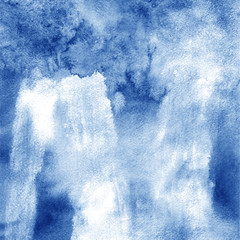 riverside. Abstract watercolor hand painted background. Blue texture gradient.