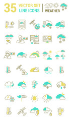 Set vector line icons weather in flat design.