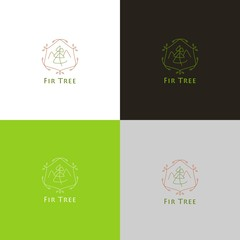 Forest logo or icon with fir tree in thin style