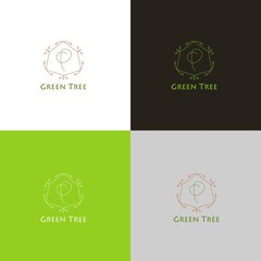 Forest logo or icon with tree in thin style