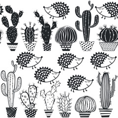 Hedgehogs & cactus. Seamless vector pattern. Stylish black-and-white illustration