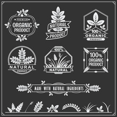 Collection of Organic food labels and design elements.