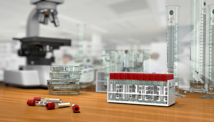 3D render, illustration.Science concept, Chemical laboratory gla