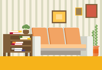 Living room interior design. Modern flat vector
