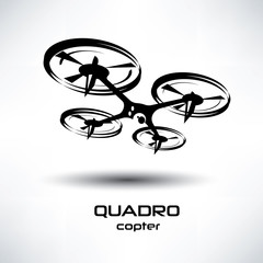 drone icon, quadrocopter stylized vector symbol