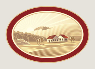 Rural landscape in the frame, a graphic design element for the create of the label.