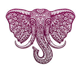Elephant head painted tribal ethnic ornament. Vector illustration