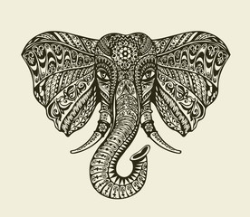 Vintage graphic indian elephant. Floral pattern in ethnic style. Vector illustration