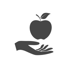 Illustration of a hand offering apple