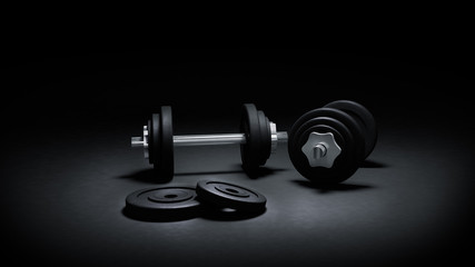 3D render of gym weights in the dark, with strong rim lighting dramatic effect