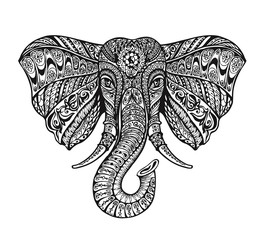 Ethnic ornamented elephant. Vector illustration