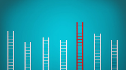 3D ladders on blue background, representing the success climb, objective development. Competition in the market