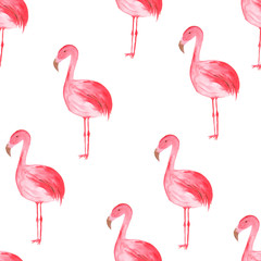 Watercolor tropical seamless pattern with pink flamingoes
