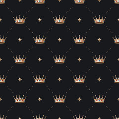Seamless gold patter and king crown with diamond