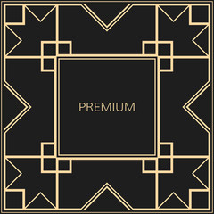 Vector geometric frame in Art Deco style. Square vector abstract element for design. Premium vector background in luxury style.