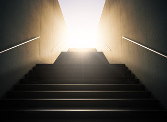 Staircase to success.. 3D render of a staircase, looking up the way against the sunset, strong lighting and contrast, representing hope, business prosperity and light at the end of the tunnel Wall mural