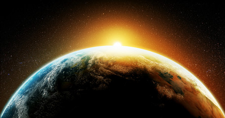 Earth planet represented by a 3D render with a strong contrast on black background