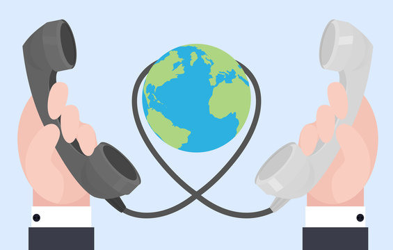 Flat illustration of two hands with old phones, wire connections. Communication at a distance.