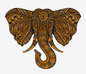 Hand drawn indian elephant head. Ethnic patterns. Vector illustration