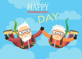 grandparents jump with a parachute and holding hands