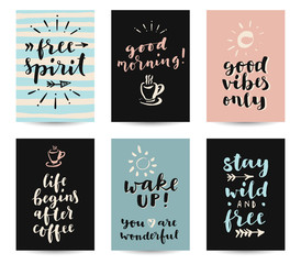 Set of modern calligraphic posters with inspirational quotes and good wishes