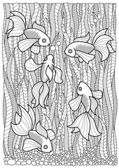 Hand drawn marine adult coloring page, fish swim in algae anti stress zentangle