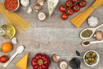 Pasta ingredients background