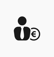 Euro symbol coin behind the  businessman icon