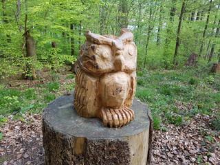 Eule, Holzkunstwerk, Holzschnitzerei