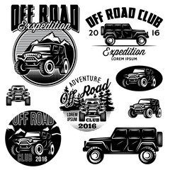 vector templates for SUVs off-road sport club logos