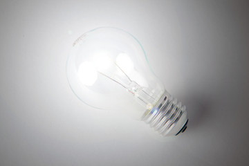 Glowing incandescent light bulb
