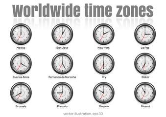 Set of clocks showing international time. World time  zones. Vector illustration