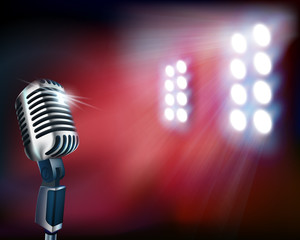 Empty stage with microphone. Vector illustration.