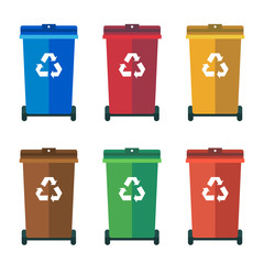 Different Colored wheelie bins, trash bins, sorting garbage vector flat illustration