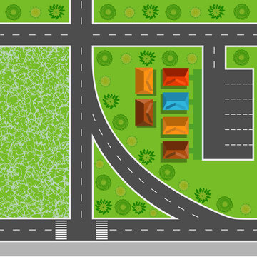 Top view of the city seamless pattern of streets, roads, houses and trees