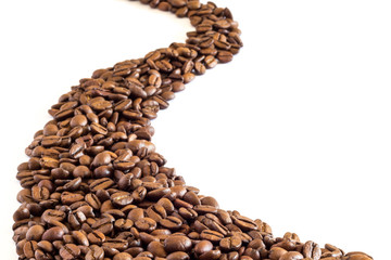 Trail of coffee beans
