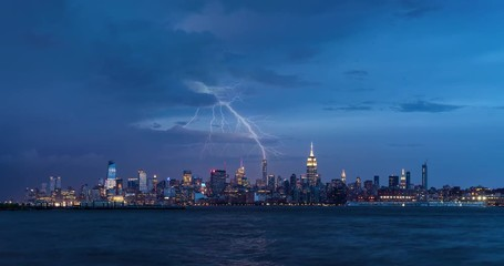 Wall Mural - Cityscape time lapse of a summer evening storm and lightning in New York City. View of Manhattan Midtown West skyscrapers, West Village and Hudson River