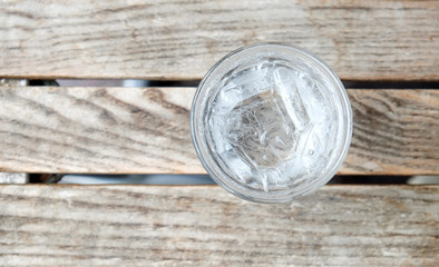 glass water on wooden table.