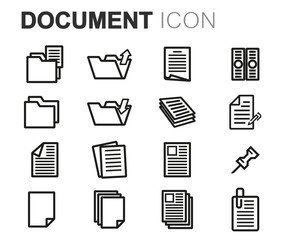 Vector black line document icons set